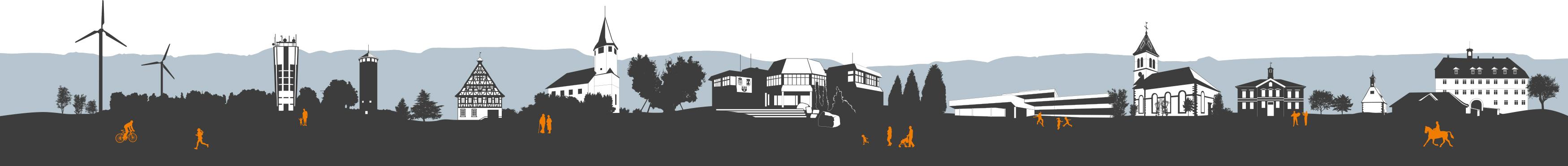 KFS STUDIO stellt vor: Referenzprojekt der Gemeinde Jettingen, Illustration der Jettinger Skyline.