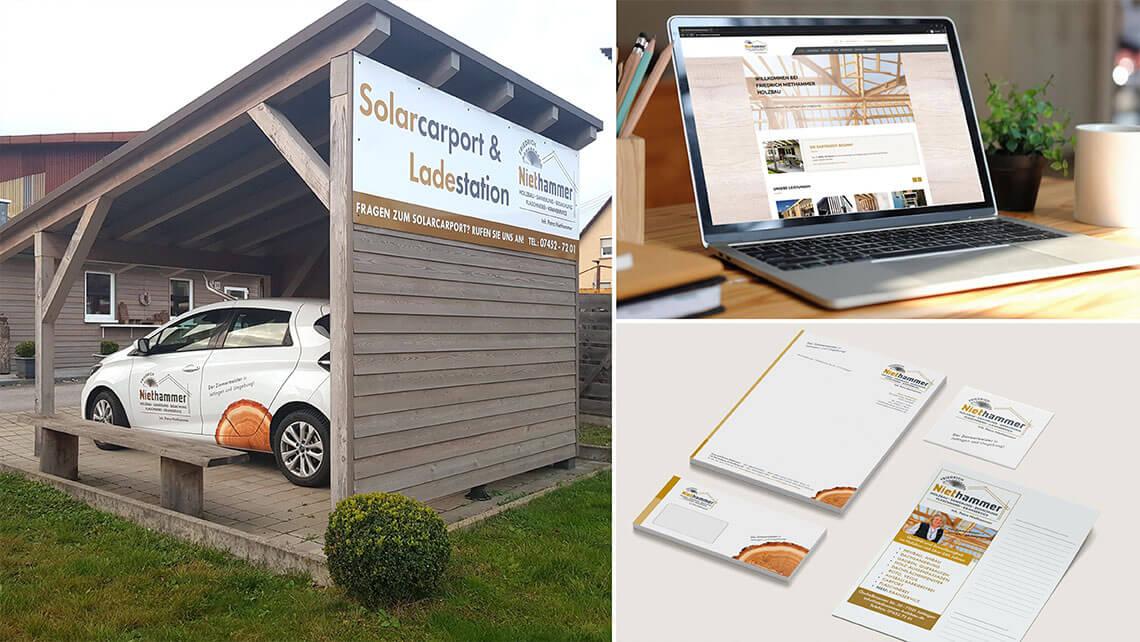 KFS STUDIO Referenzen - Werbung Niethammer Holzbau Jettingen. Erfolgreiche Projekte: Beschilderung, Autobeschriftung, Geschäftsausstattung, Imageflyer und Webseite für den Handwerksbetrieb.