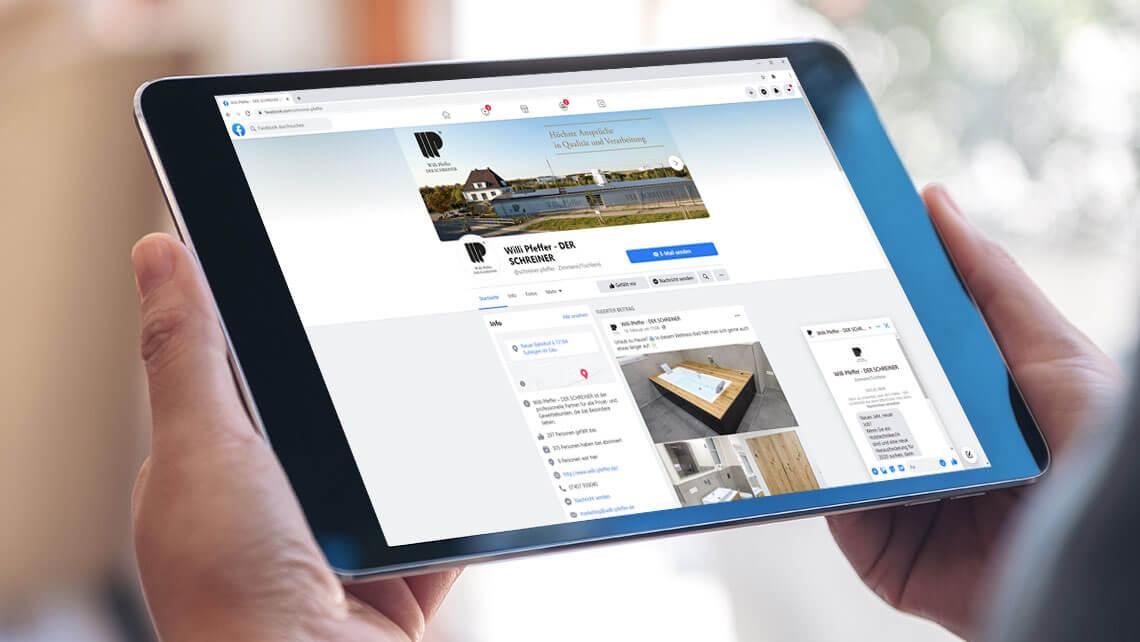 KFS STUDIO Referenzen – Social Media, Aufbau und Betreuung einer Facebook Business-Seite für unseren Kunden Willi Pfeffer der Schreiner aus Eutingen im Gäu